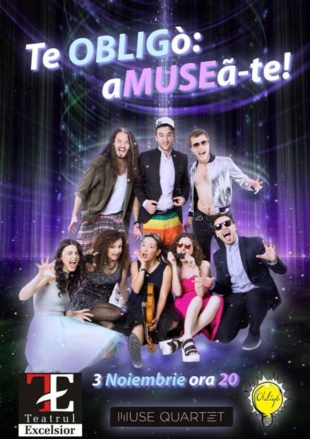 Poster TE OBLIGó: AMUSEa-te! – muzica live si improvizatie