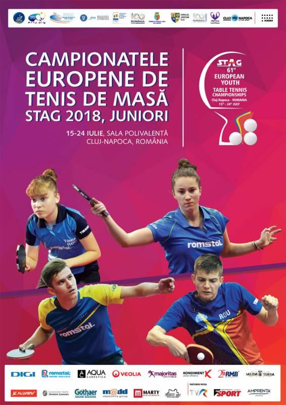 Poster Campionatele Europene de Tenis de Masa pentru Juniori STAG 2018
