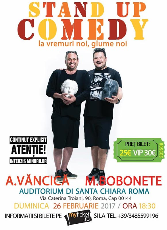 Poster Stand up Comedy Show cu Bobonete si Vancica - SOLD OUT