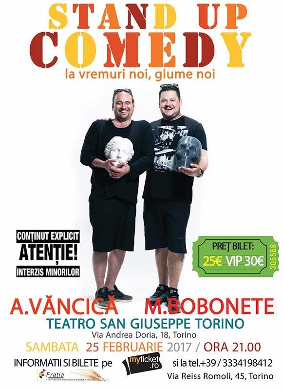 Poster Stand up Comedy Show cu Bobonete si Vancica